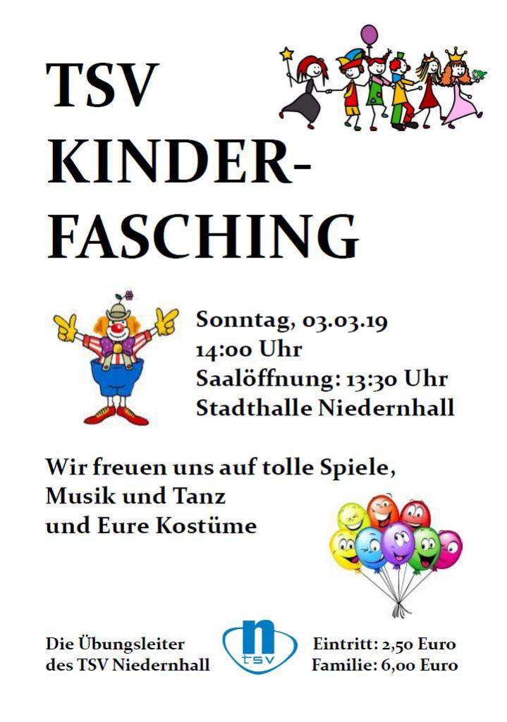Plakat TSV Niedernhall Kinderfasching 2019